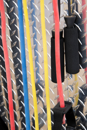 Indoor exercise equipment - multi colored resistance bands