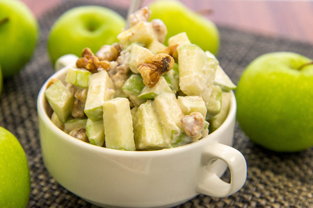 green apple and walnut salad with condensed milk