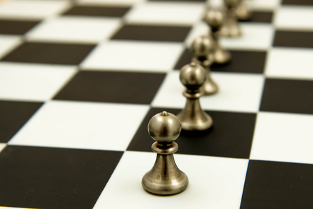 lined up: Classic chess game - pawns in rows, lined up