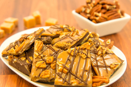 chewy: indulgent dessert - rich chewy sweet caramel chocolate and pecan treat