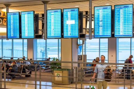 IAH, Houston Intercontinental Airport, Houston, TX, USA - flight information display screens