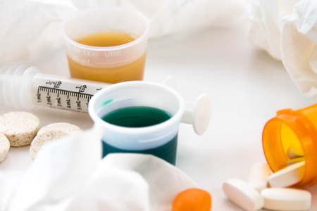 over the counter: cold and flu season medicines for cough, sneeze, and sore throat Stock Photo