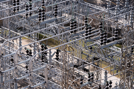 electrical power substation with transformers and insulators Imagens - 36332665