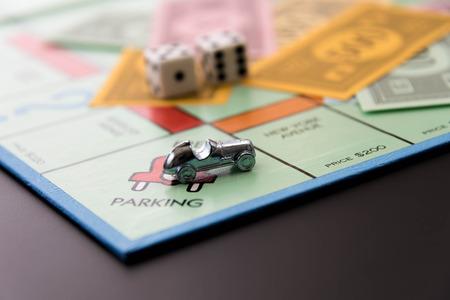 8 februari 2015 - Houston, TX, USA. Monopoly auto op Gratis parkeergelegenheid