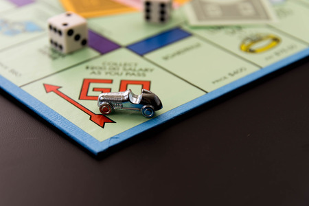 February 8, 2015 - Houston, TX, USA.  Monopoly  car on Go