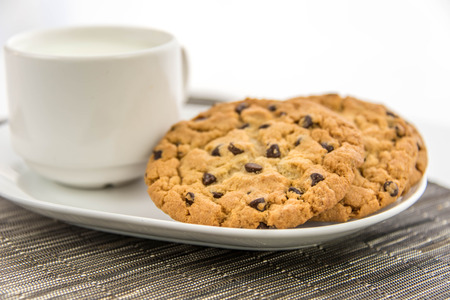 chocolate chip cookies: cup of milk and chocolate chip cookies