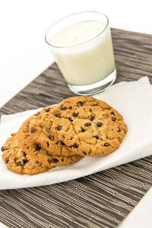 chocolate chip cookies: glass of milk and chocolate chip cookies