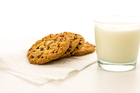 chocolate chip cookie: glass of milk and chocolate chip cookies