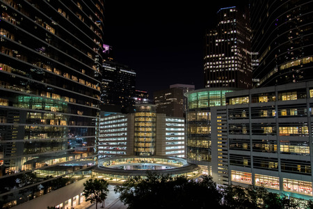 tx: Oct 30, 2014 - Downtown Houston buildings at night