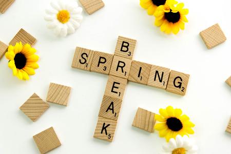 December 19, 2014: Houston, TX, USA - Scrabble word game wood tiles spelling Spring Break Editorial