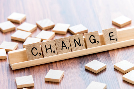 April 4, 2015:  Houston, TX, USA - Scrabble Word Game wood tiles spelling CHANGE
