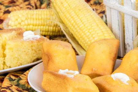 cornbread: fresh oven baked loaf of cornbread