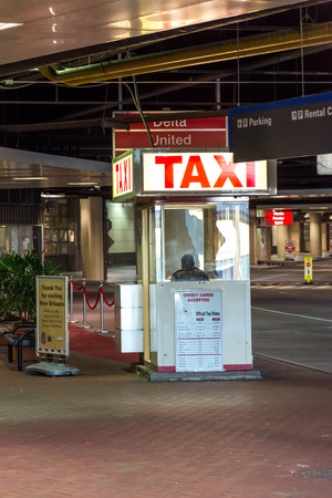 louis armstrong: MSY, Louis Armstrong New Orleans International Airport, New Orleans, LA, USA - October 15, 2015:  taxi stand Editorial