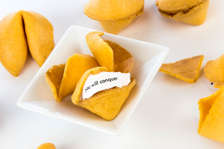 bad fortune: open fortune cookie with strip of white paper - YOU WILL CONQUER