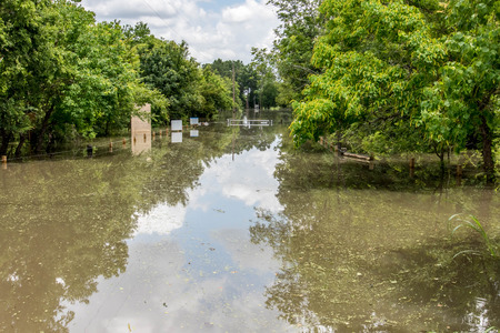 Standing flood waters over roads and fields Banco de Imagens