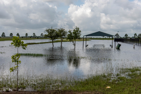 Standing flood waters covering fields and trails Stock fotó - 40508543