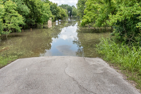 Standing flood waters over roads and fields Stock fotó