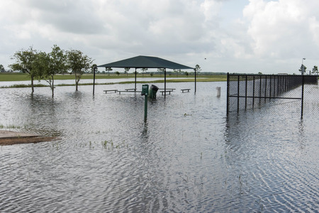 Standing flood waters covering fields and trails Stock fotó - 40508919