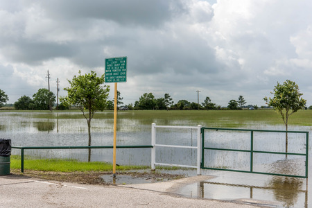 Standing flood waters covering fields and trails Stock fotó - 40486046