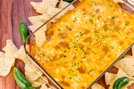 cheddar: hot layered bean dip with jalapenos, sour cream and melted cheddar cheese