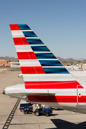 on ramp: October 2, 2015, Phoenix, Arizona, USA - PHX airport. American Airlines planes on ramp