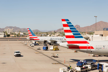 ramp: October 2, 2015, Phoenix, Arizona, USA - PHX airport. American Airlines planes on ramp