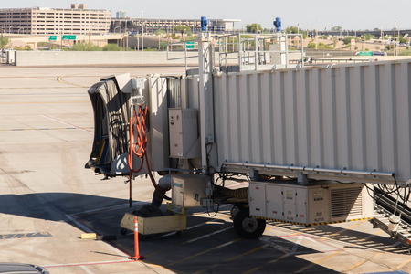 October 2, 2015, Phoenix, Arizona, USA - PHX airport. Boarding bridge with no plane attached.
