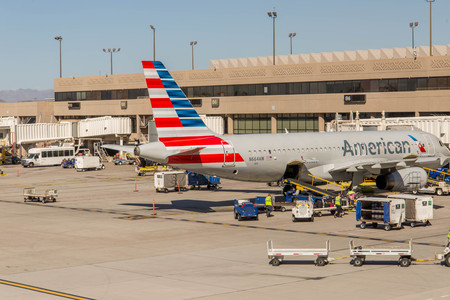 american airlines: October 2, 2015, Phoenix, Arizona, USA - PHX airport. American Airlines planes on ramp