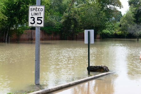 Post hurricane Harvey flooding in Houston at Memorial Drive and North Kirkwood Road