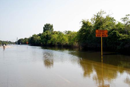 Standing water in Houston remaining  from hurricane Harvey, on Eldridge near Addicks reservoir Stock Photo