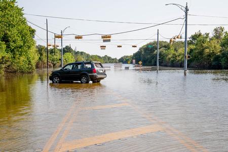 Standing water in Houston remaining  from hurricane Harvey, on Eldridge near Addicks reservoir Editorial