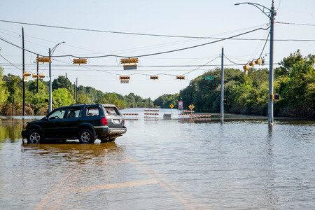 Standing water in Houston remaining  from hurricane Harvey, on Eldridge near Addicks reservoir Archivio Fotografico