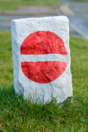 no entry: No entry road sign painted onto rock Stock Photo
