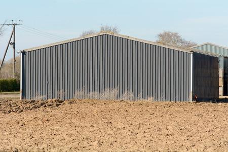 prefabricated: Prefabricated barn on farm