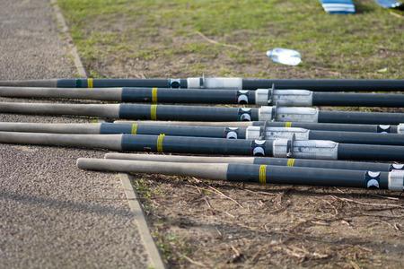 propulsion: Rowing boat oars on river bank