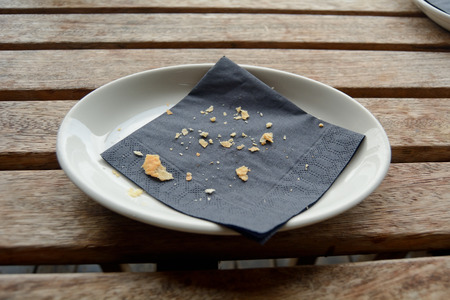 Crumbs on plate Stock Photo