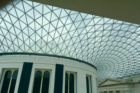 watertight: British Museum glass roof London England Editorial