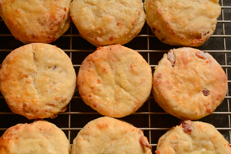 scones: Cheese scones cooling on wire rack