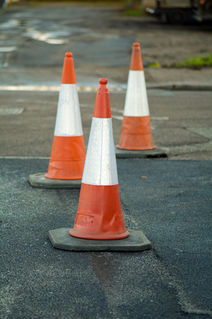 man made object: Traffic cones in road Stock Photo