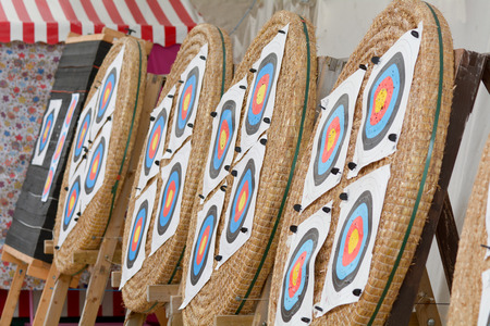 active arrow: Archery targets lined up for use