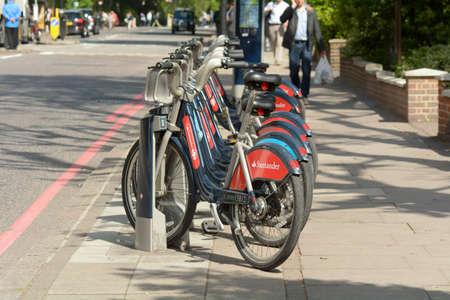 boris: London England 25 May 2015 - Transport for London Boris Bikes in rack for hire