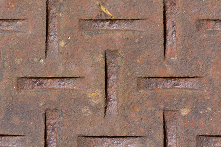 indentation: metal drain cover pattern Stock Photo