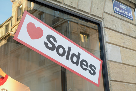 shop window: Love Soldes - Love Sales sign in French shop window