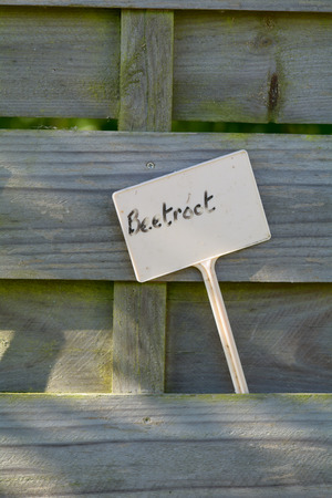 fence panel: Beetroot label in fence panel