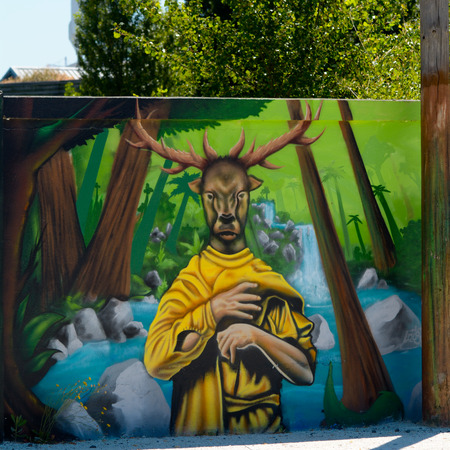 fence panel: Bordeaux, France June 24, 2015: Man with deers head and antlers graffiti on fence panel