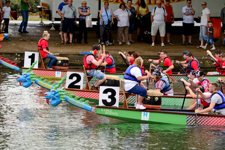 bateau de course: Bedford, England July 19, 2014: Dragon boat racing at Bedford River Festival