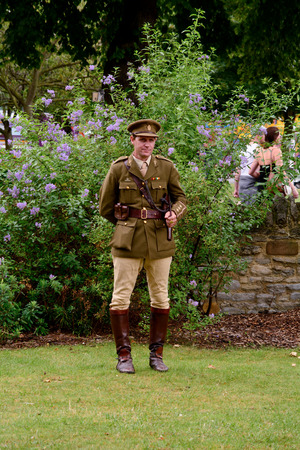 cavalryman: Bedford, England July 19, 2014: World War One re-enactment Cavalry Officer at Bedford River Festival