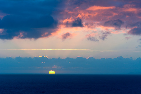 viewed: Sunset over the English Channel viewed from Mullion, Cornwall, England Stock Photo