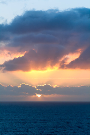 english channel: Sunset over the English Channel viewed from Mullion, Cornwall, England Stock Photo