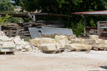 french countryside: Large stone blocks for construction in French countryside